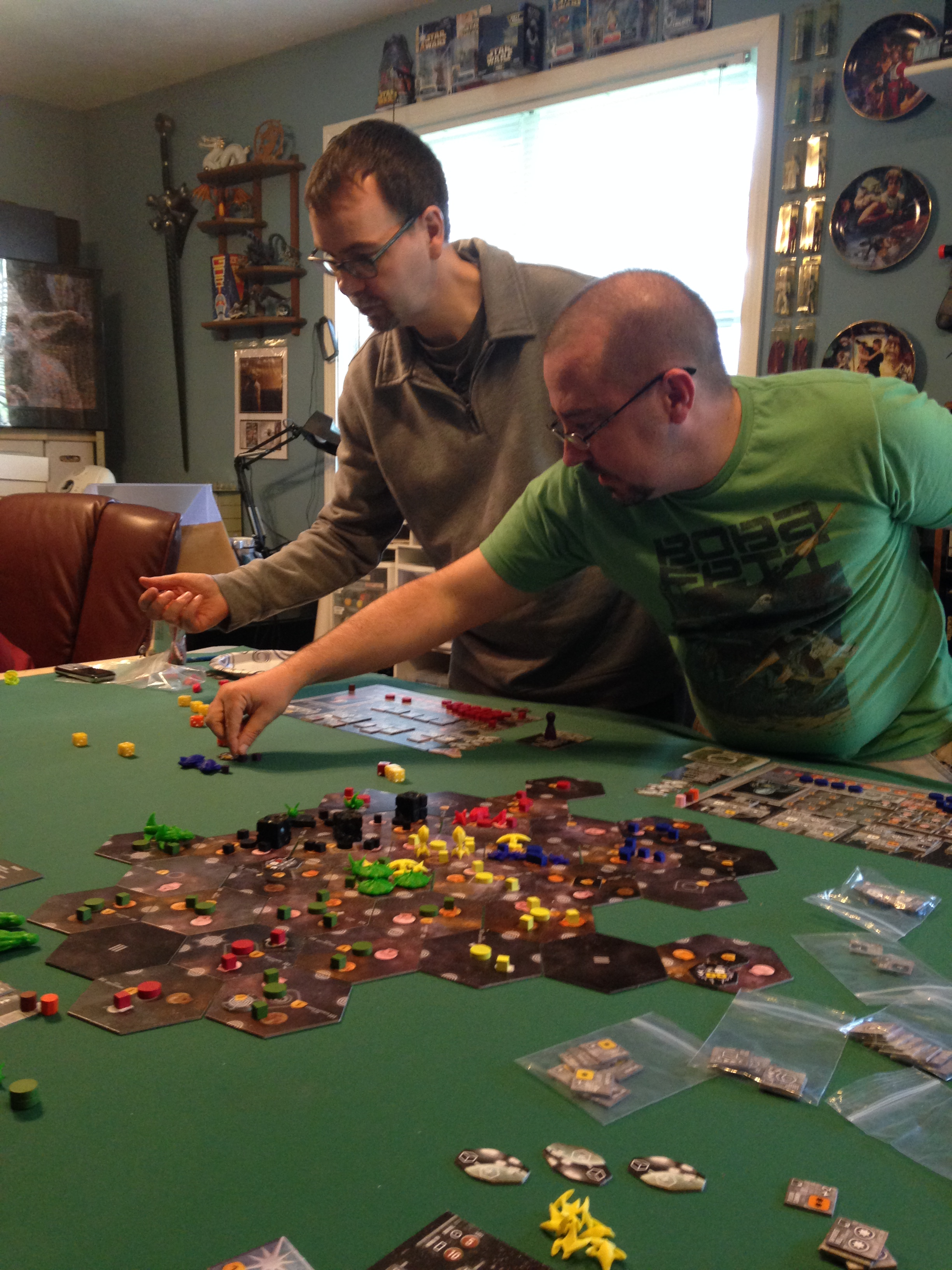 Later in the Eclipse game, Mike and Owen do battle with their fleets.